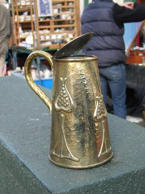 Brass ewer with Arts & Crafts motifs